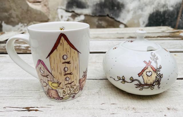 Azucarera y taza Casa de pájaros